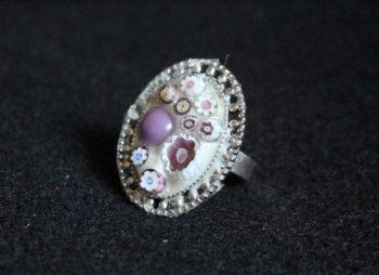 bague mauve perles et millifiori