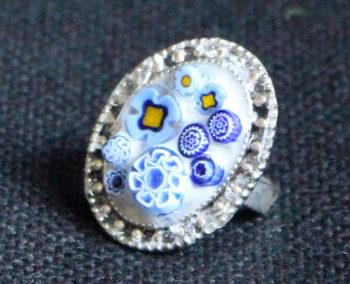 bague motifs bleus millifiori