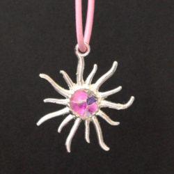 Pendentif soleil rose crackle
